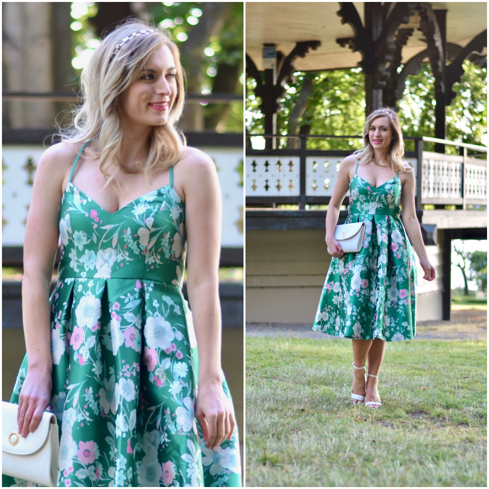 wedding guest dress idea green floral fit and flare dress