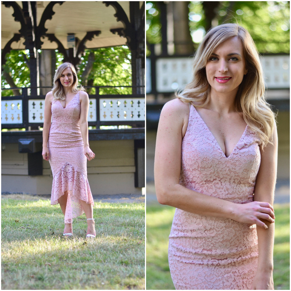 wedding guest dress idea blush lace midi dress