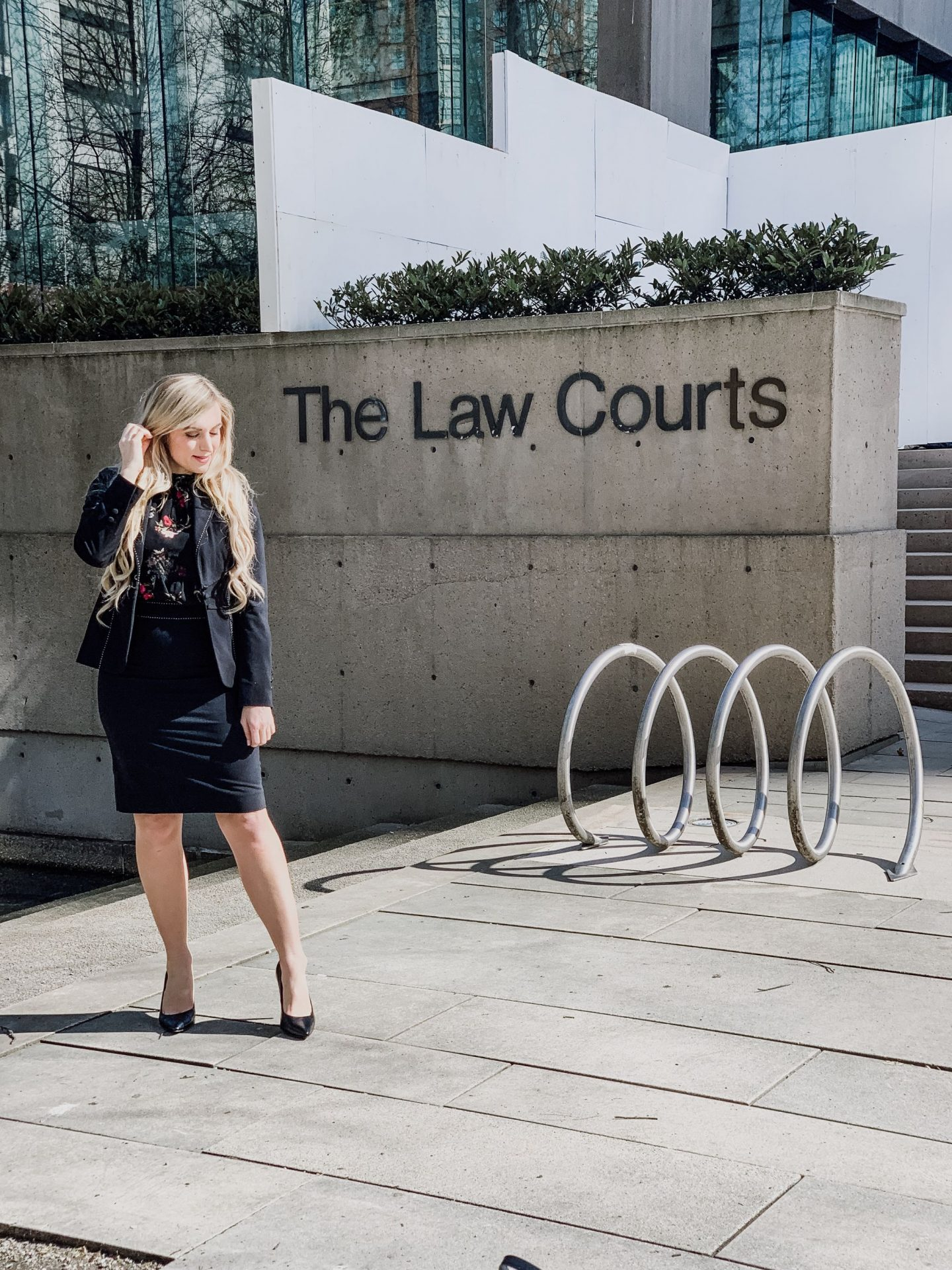 one female in front of law courts what its like to be a criminal lawyer