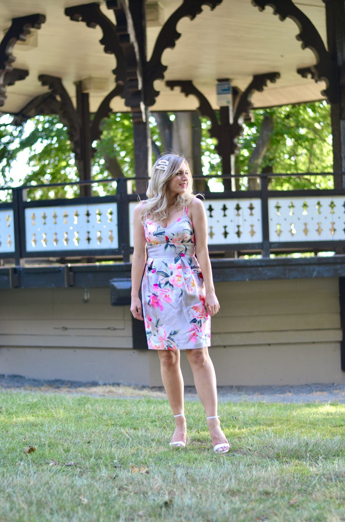 wedding guest dress idea legallee blonde wearing floral cocktail dress