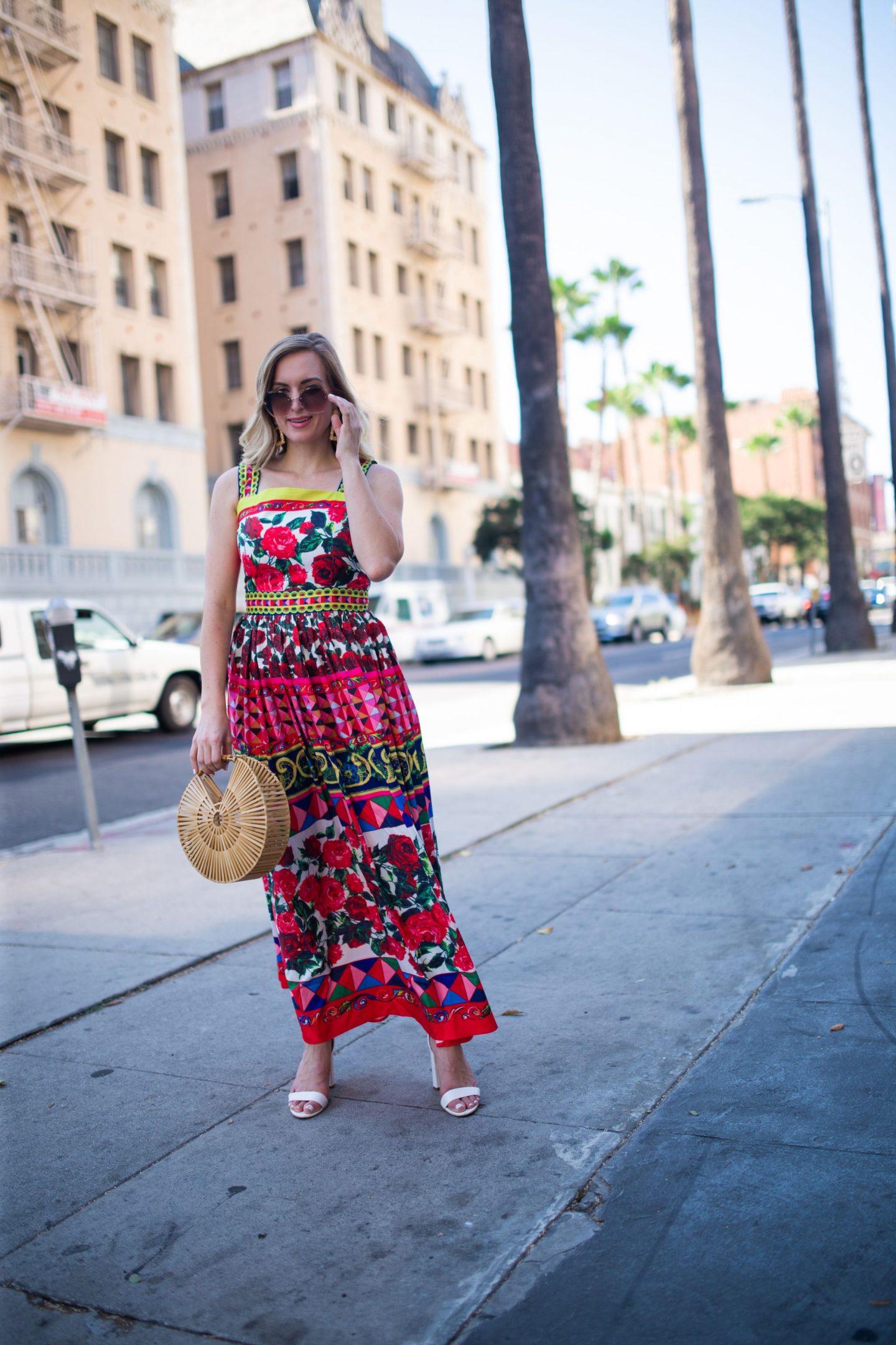 woman wearing printed amazon dress