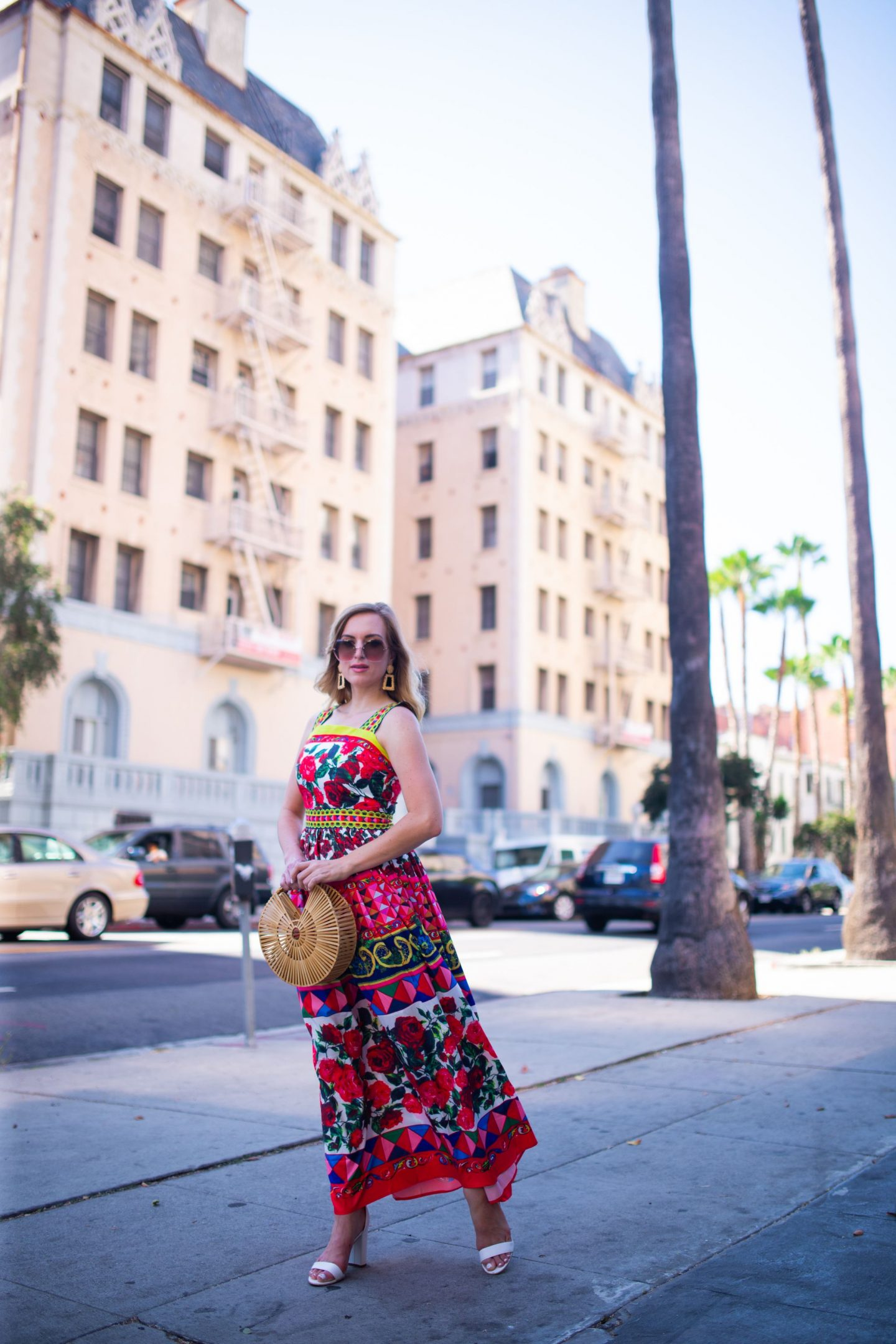 woman wearing colorful printed maxi dress from amazon