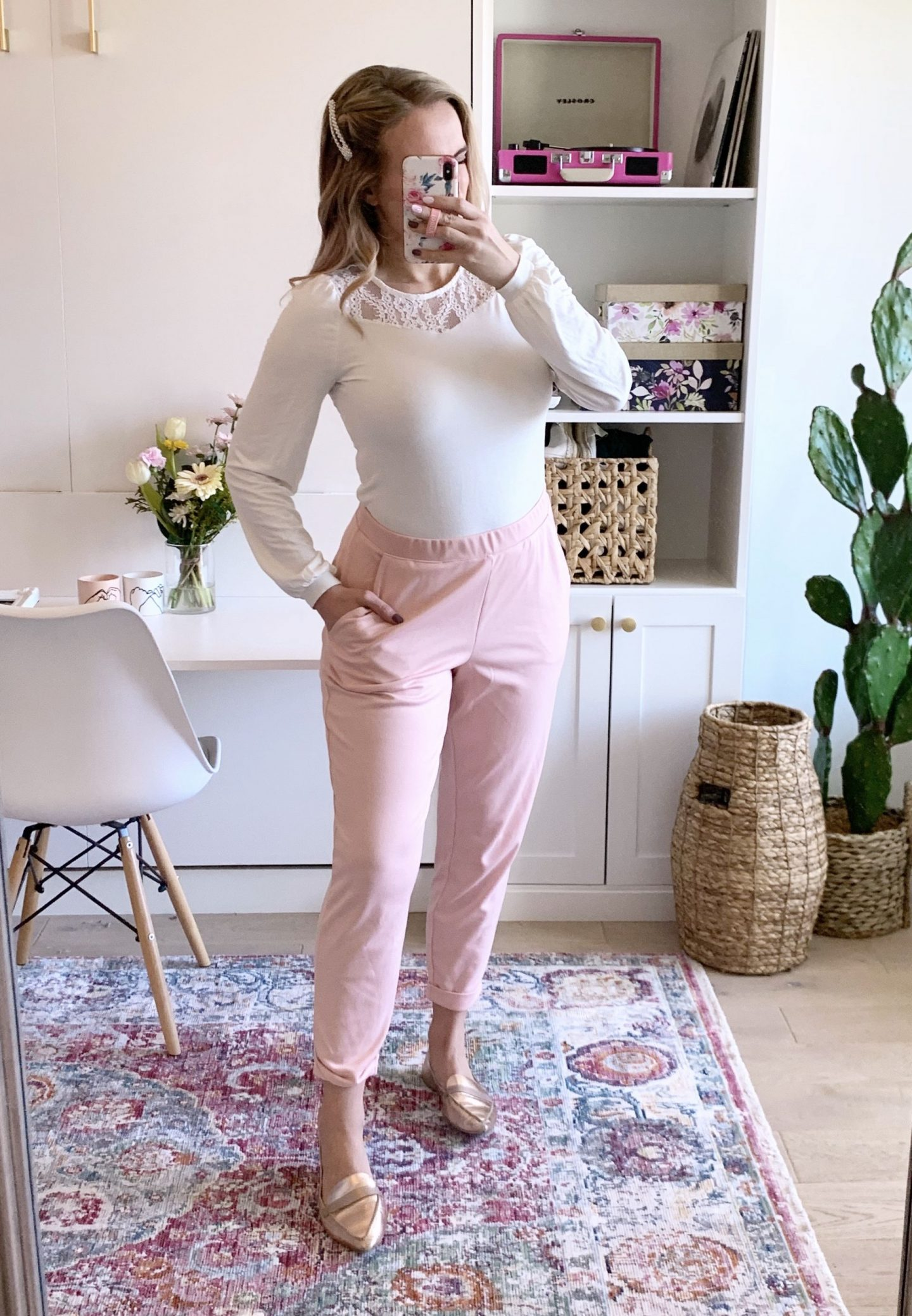 woman wearing a work from home outfit