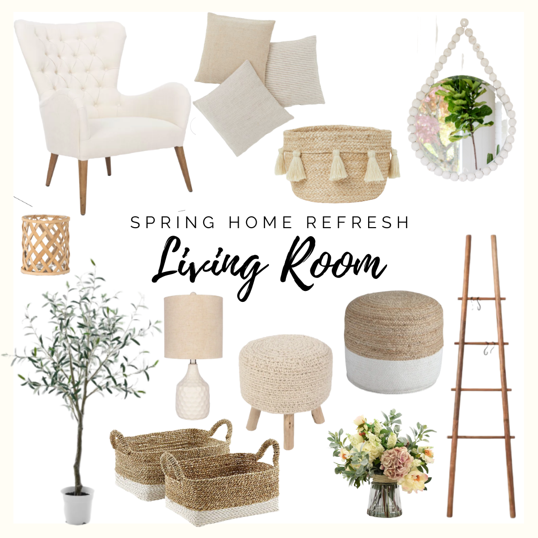 spring home decor collage living room