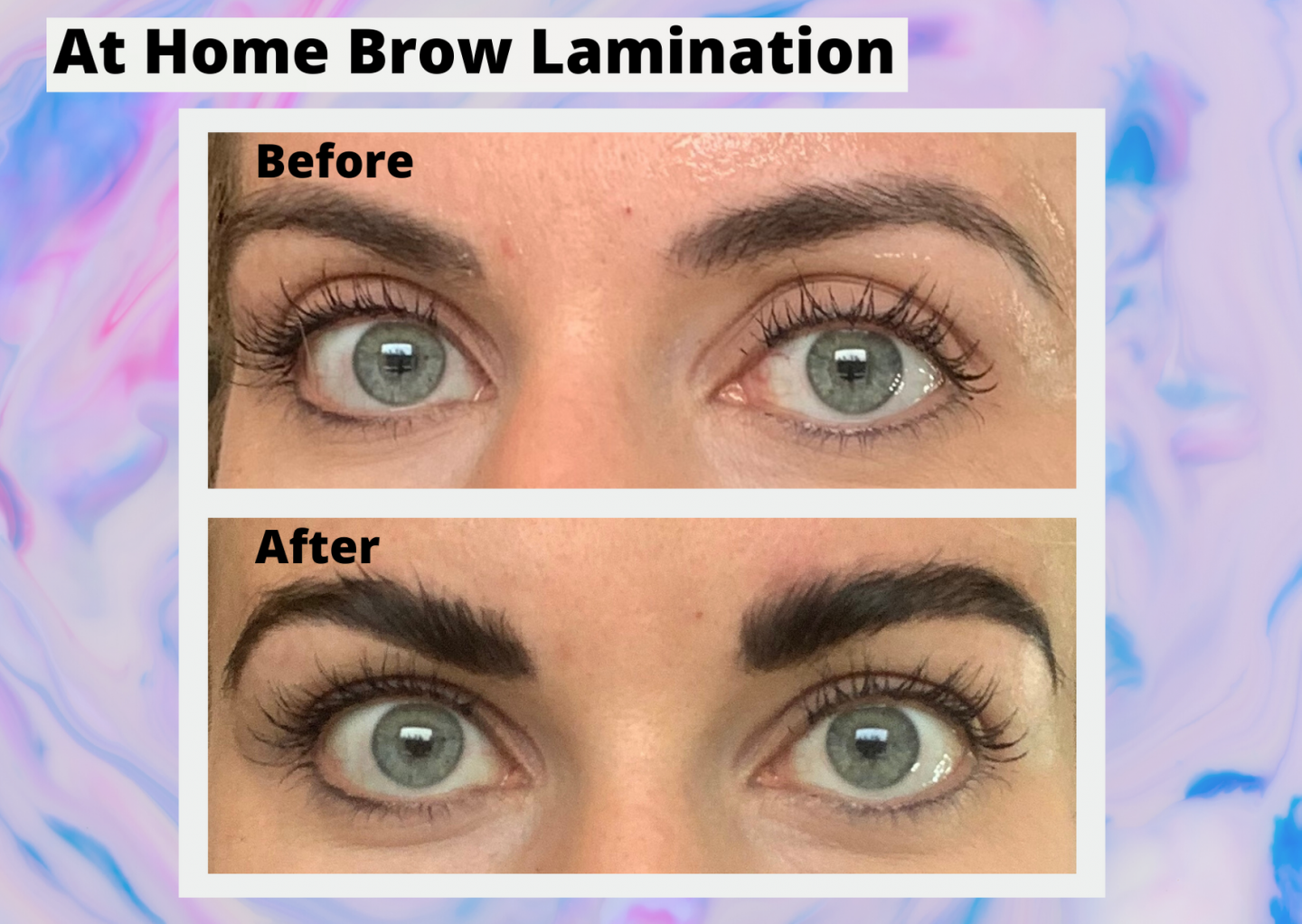 at home brow lamination before and after