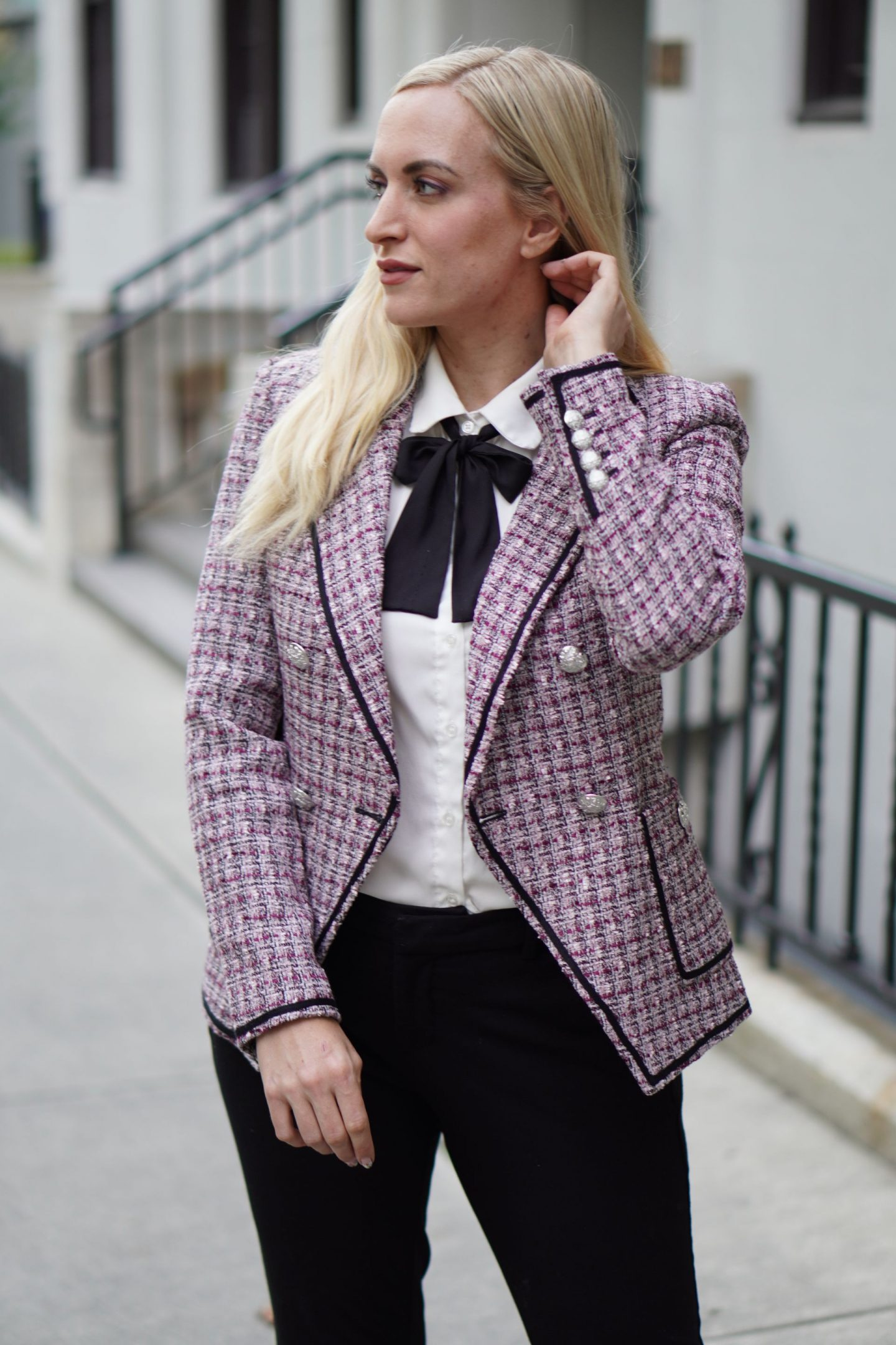 legallee blonde fashion blogger wearing trend to try tweed