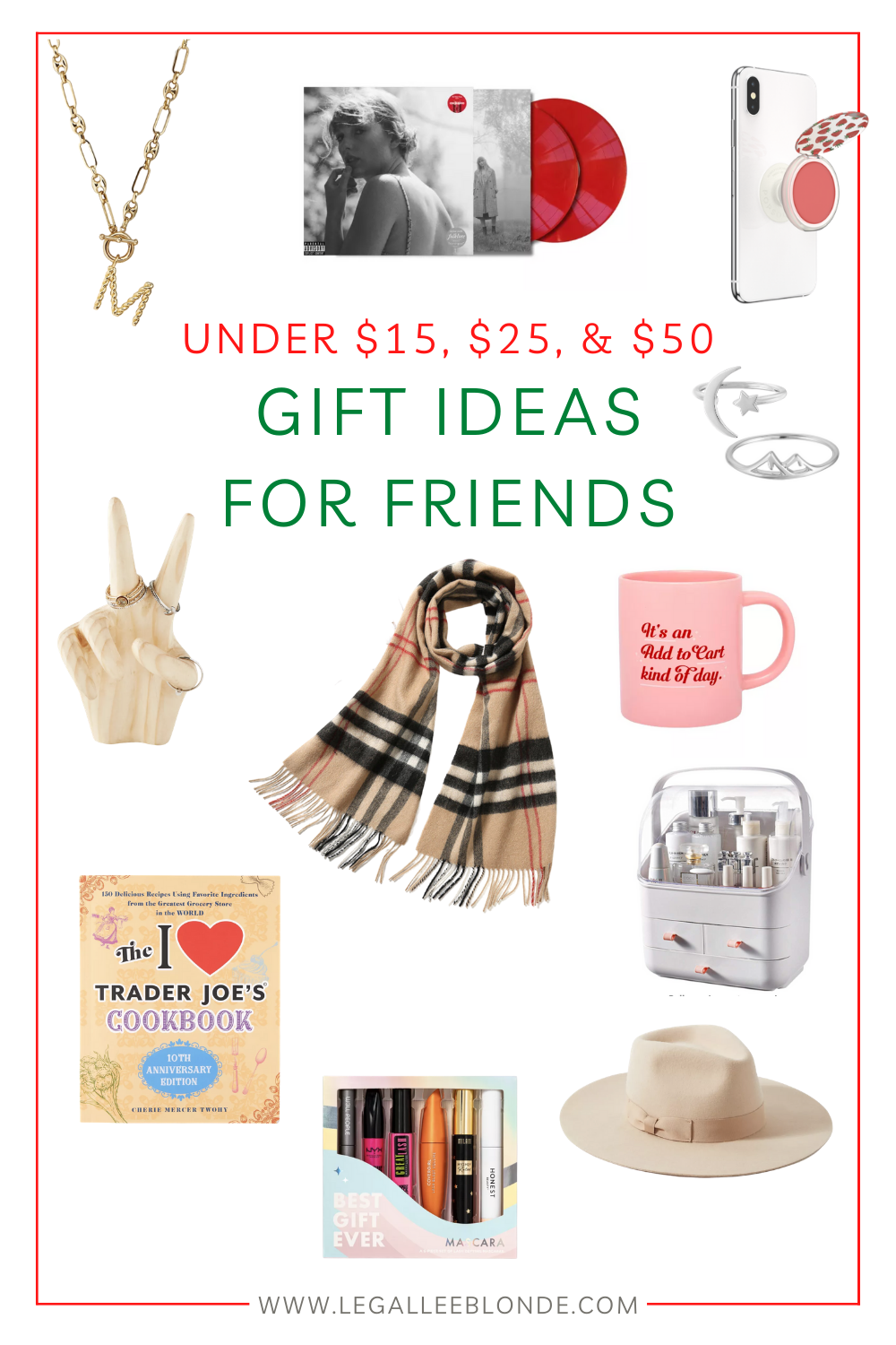 gift ideas for friends collage of gifts under $15, gifts under $25