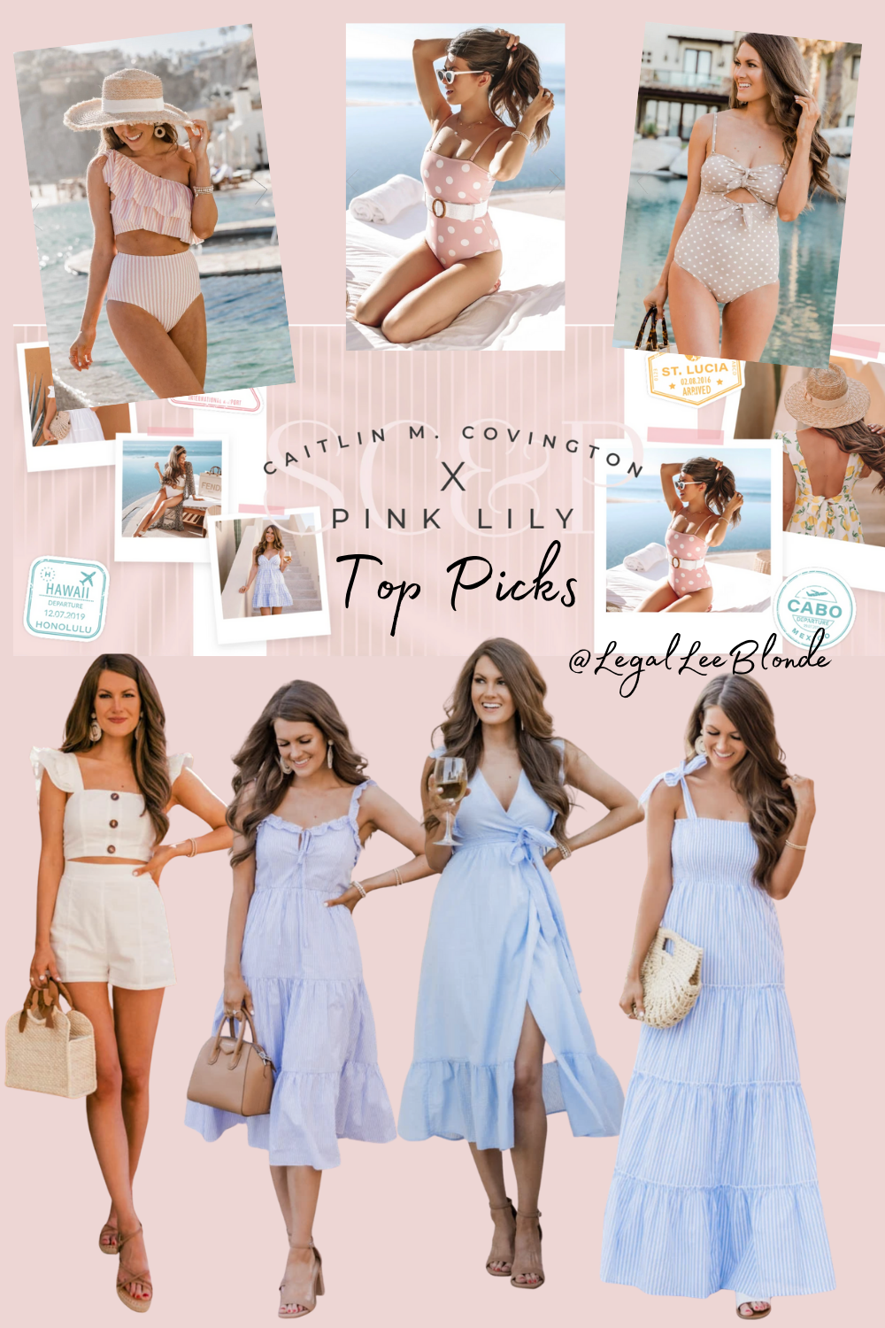 pink lily x caitlin covington collection review collage