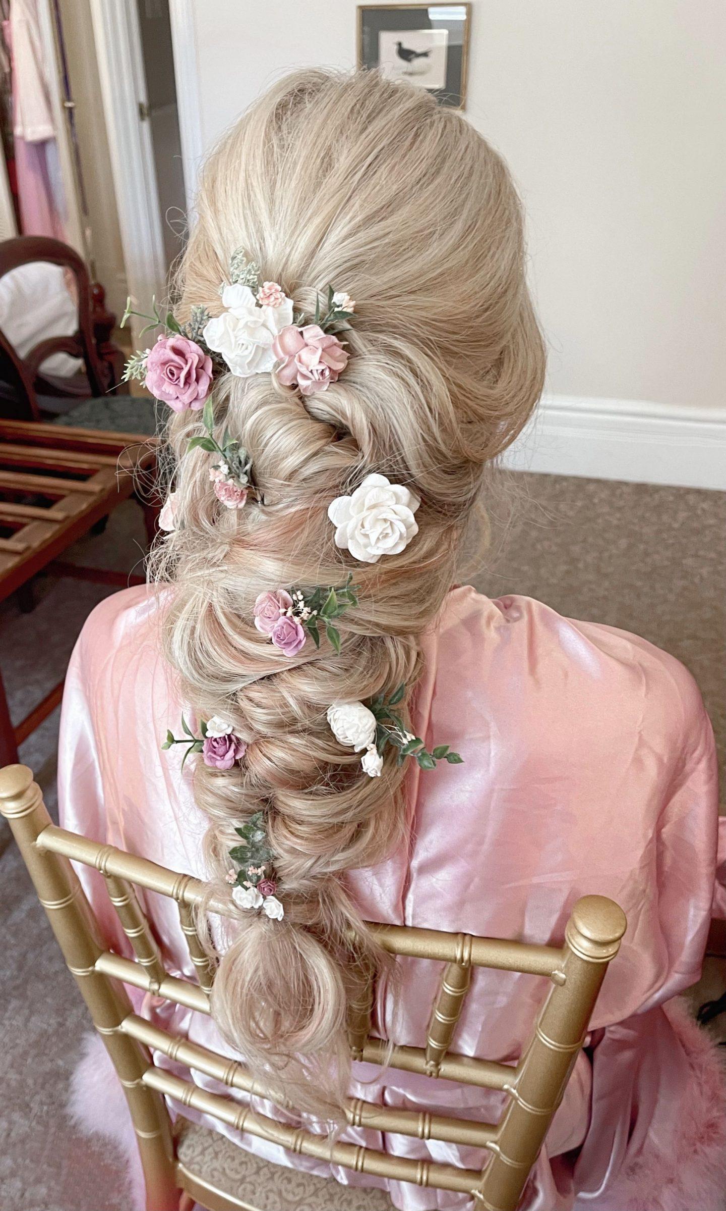 wedding day hairstyle loose braid legallee blonde