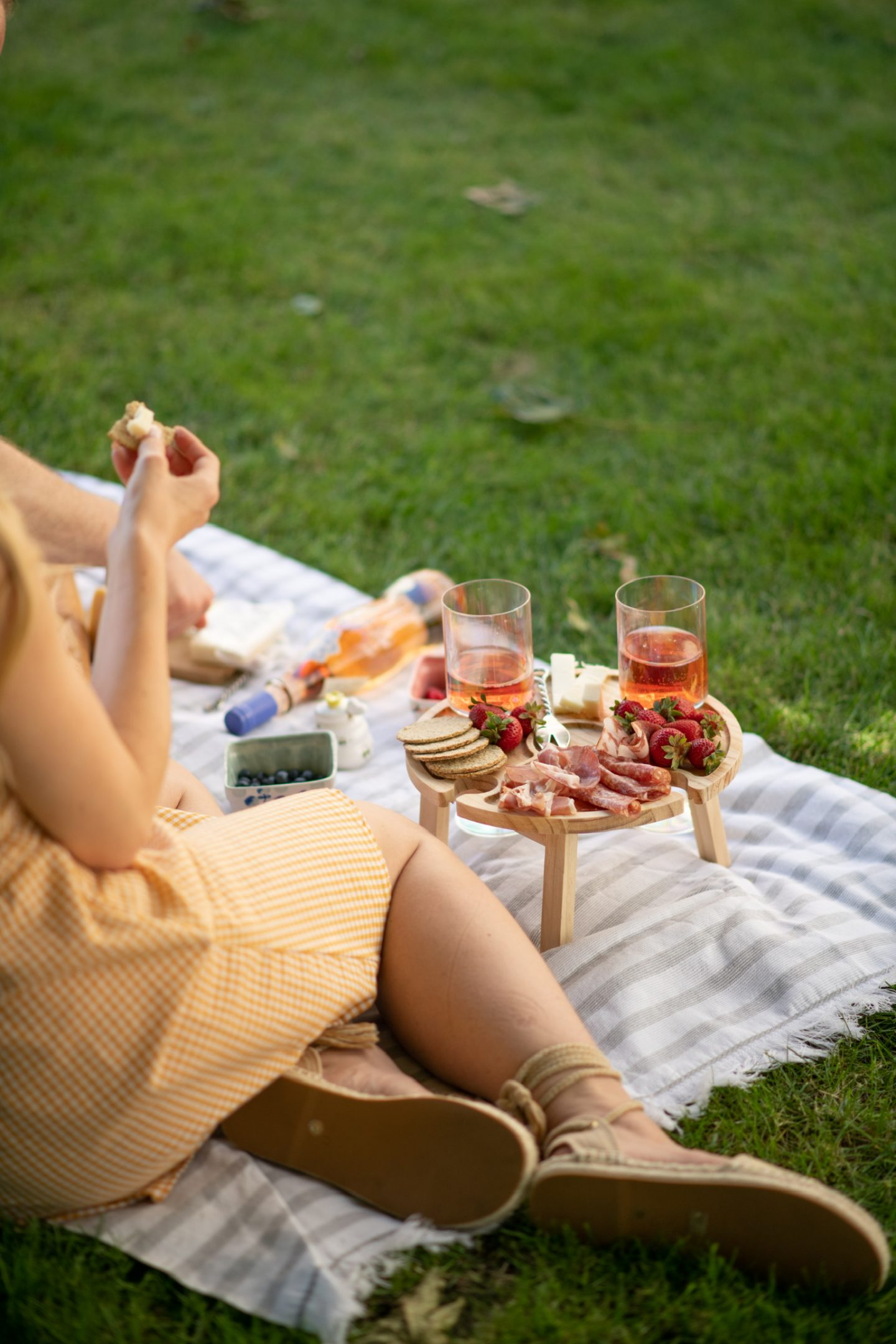 summer picnic set up including foldable picnic table